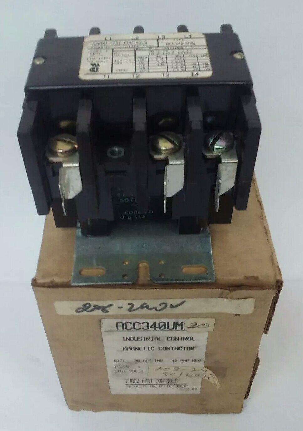 ARROW HART ACC340UM20 INDUSTRIAL CONTROL MAGNETIC CONTACTOR 4P 600V 40A 240VCOIL