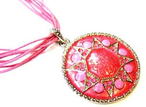PINK-CRYSTAL-SILVER-METAL-SUNDIAL-PENDANT-CORD-NECKLACE-FREE-UK-POST-PF10