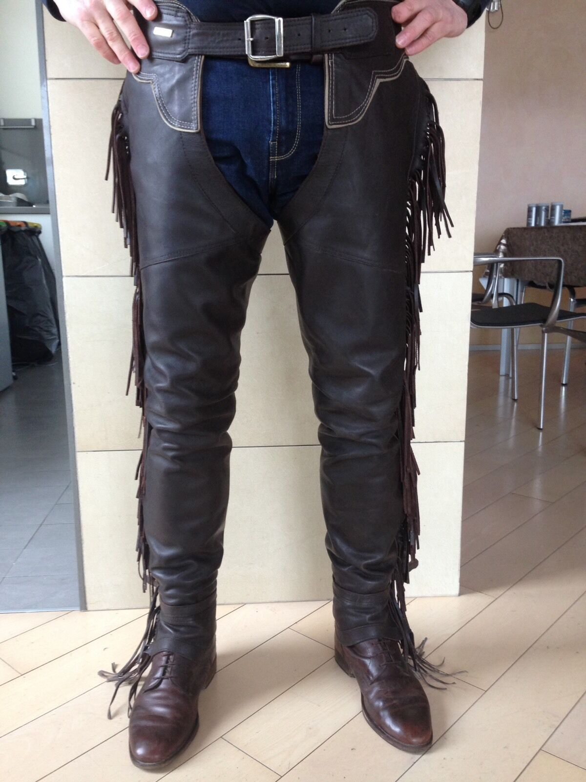 Chaps Pelle Uomo Equitazione Inglese  Frangie Made In  Hand Made
