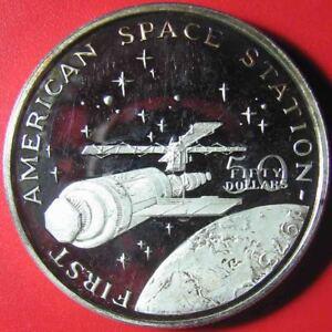 1989-MARSHALL-ISLAND-50-PROOF-1oz-SILVER-SKYLAB-AMERICAN-SPACE-STATION-1973-c-1