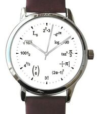 """Mathematics Dial"" Large Theme Watch Has A Math Equation At Each Hour Indicator"