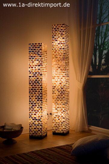 Exklusive XL Stehlampe, Stehlampen, Fiberglas Stehleuchte, Capiz Mosaik, groß