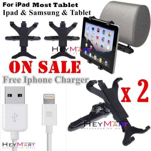 2 x Universal Car Seat Back 360 RotatingHeadrest Mount Holder for Apple Samsung