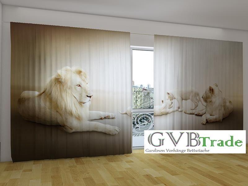 Fotogardinen  Weiße Löwen  Fotovorhang Panorama Vorhang Gardinen, Auf Auf Auf Maß | Vorzugspreis  01a675