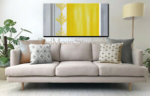 48x24-Original-Abstract-Art-Painting-48x24-Yellow-and-Gray-US-Artist