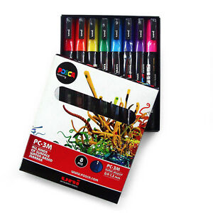 Uni-POSCA-Paint-Markers-Art-Pens-PC-3M-Essential-Colours-Set-of-8-Gift-Box