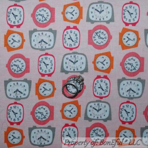 BonEful FABRIC FQ Cotton Quilt VTG Pink Retro Hippie Alarm Clock Antique Kitchen