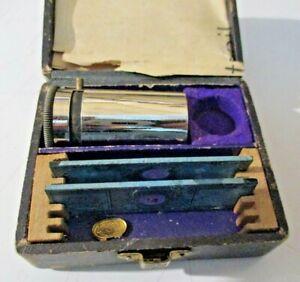MICROSCOPIO-TASCABILE-2-VETRINI-H-HAGER-FRANKFURT-1882-scatola-e-istruzioni