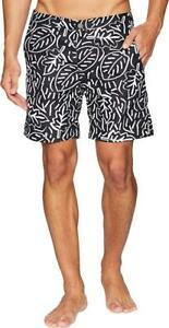 3dddef3be6 NWT $145 Mens ONIA Calder Pop Leaves Black/White 7.5 Swim Shorts ...