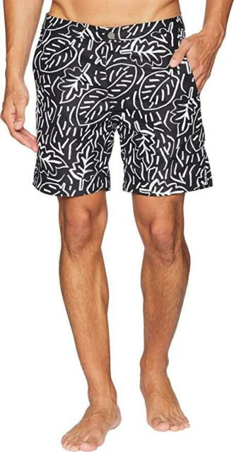 4494d28142f9a NWT $145 Mens ONIA Calder Pop Leaves Black/White 7.5 Swim Shorts Trunks  Size 38