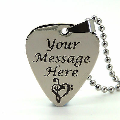 Personalised Engraved Stainless Steel Guitar Pick Plectrum Keyring/Necklace GIFT
