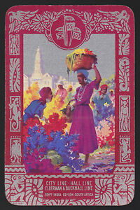 1 Single VINTAGE Swap//Playing Card CARIBBEAN ISLAND LADY STYLISED TREE Pink//Grey
