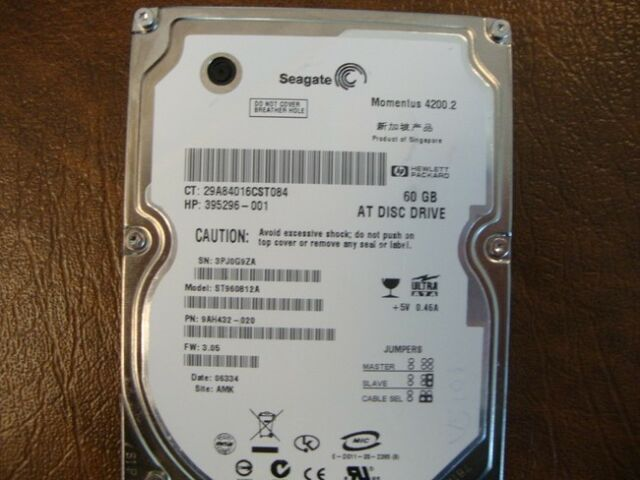 "Seagate ST960812A 9AH432-020 FW:3.05 Site:AMK  60gb 2.5"" IDE Hard Drive"