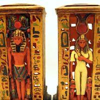 Large Egyptian Pharoah King Tut Queen Nefertiti Votive Candle Holders Figurines