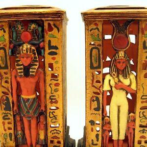 Large-Egyptian-Pharoah-King-Tut-Queen-Nefertiti-Votive-Candle-Holders-Figurines