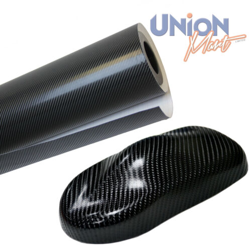 Black 4D Carbon Fibre Vinyl Wrap Film Bubble Air Free