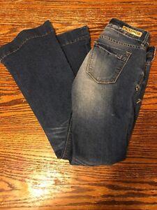 Express-034-Stella-034-Women-039-s-Size-0-Regular-Fit-amp-Flare-Dark-Wash-Low-Rise-Jeans