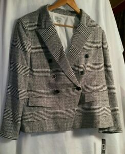 139-Tahari-ASL-Women-s-Black-Knit-Plaid-One-Button-Jacket-Blazer-Size-XL-New