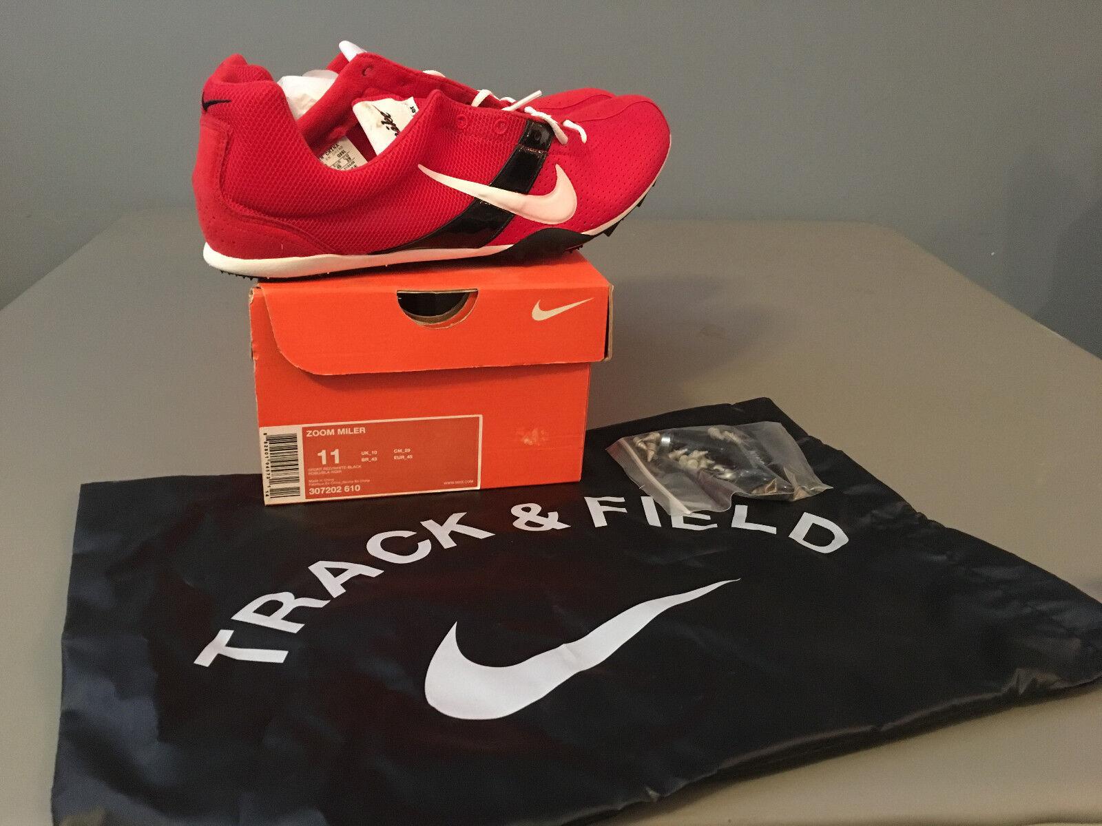 NIB Mens Nike ZOOM Miler Track & Field Track Spikes (307202) Red   Black 11