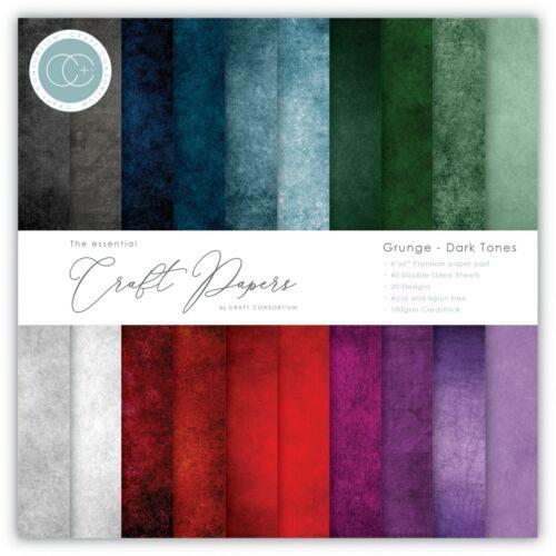 """New Craft Consortium 6/"""" x 6/"""" Paper Pad Craft Papers Grunge Dark Tones"""