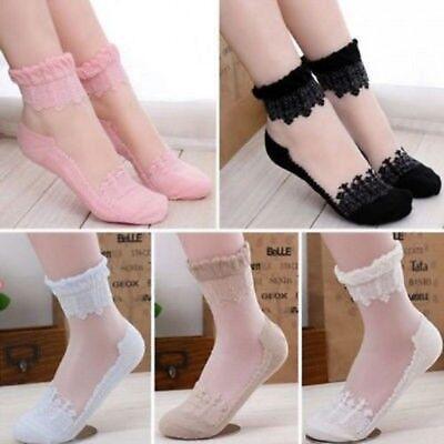 Women Cute Ultrathin Transparent Beautiful Crystal Silk Lace Elastic Short Socks