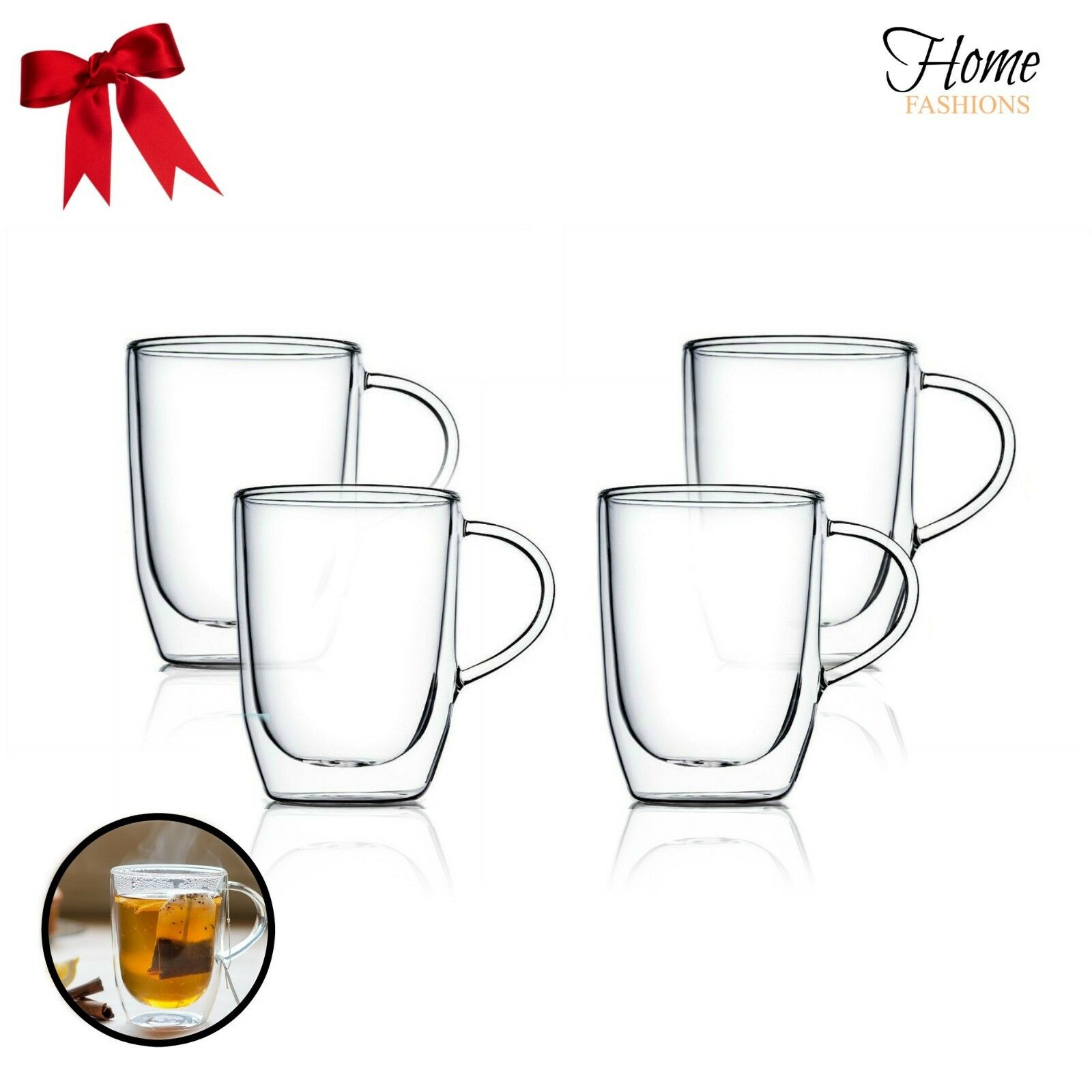 New Home Fashion Clear Double-Wall Insulated Hand Blown Glasses (Set of 4) 15 oz