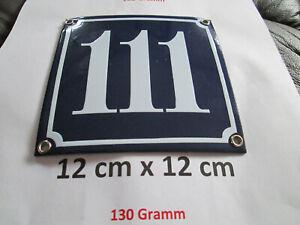Hausnummer Nr. 111 weisse Zahl auf blauem Hintergrund 12 cm x 12 cm Emaille Neu