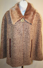 Nick & Mo Womens Ladies Beige Faux Fur Collar Poncho Wrap Winter Coat Size L/XL