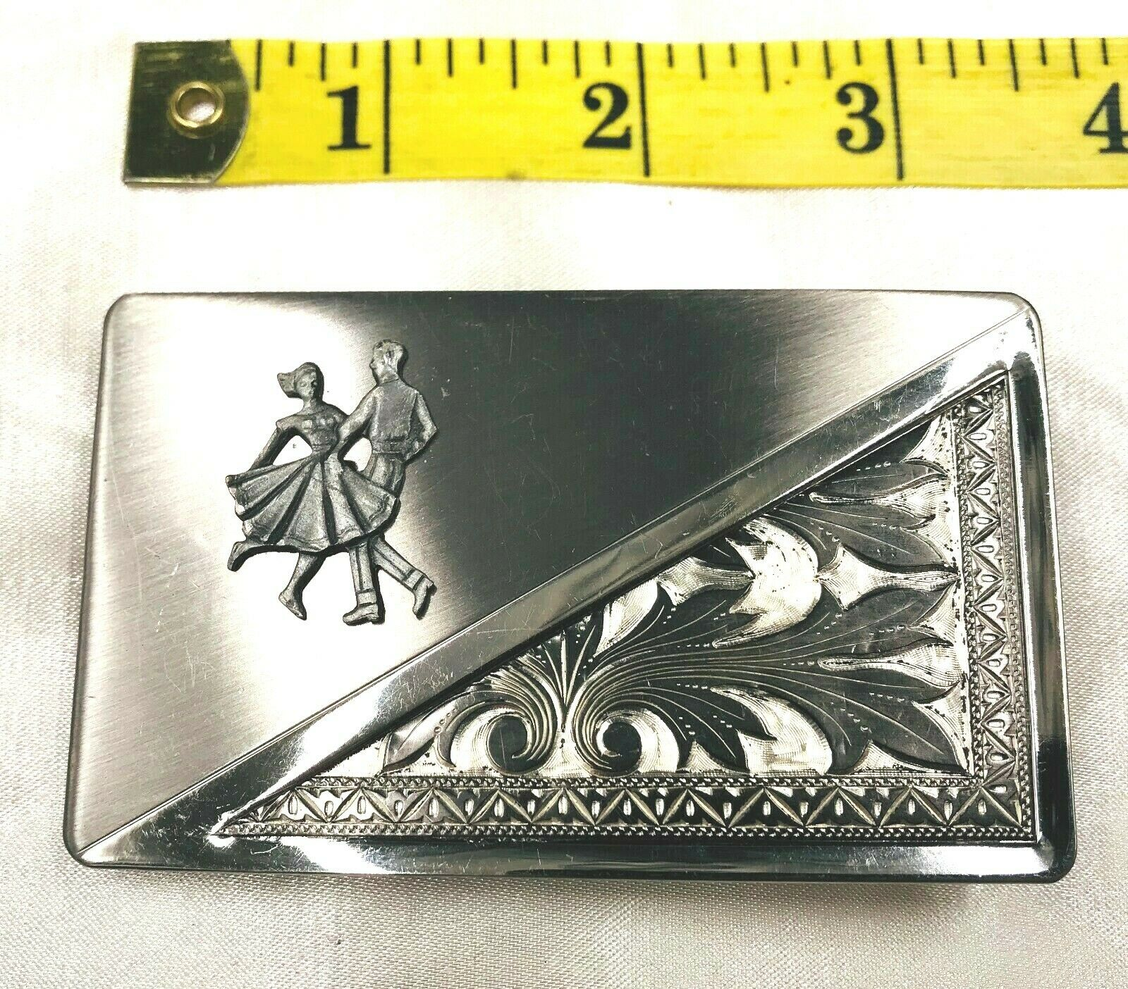 Square Dancing Couple Silver Tone Belt Buckle