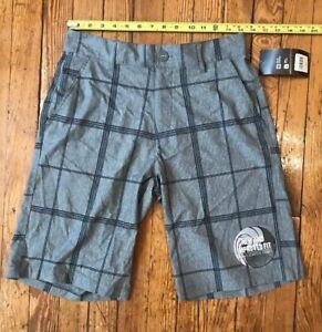 8e7430fc49 Mens Size 28 OP Flex 4 Way Stretch Grey Plaid Casual Board Shorts ...