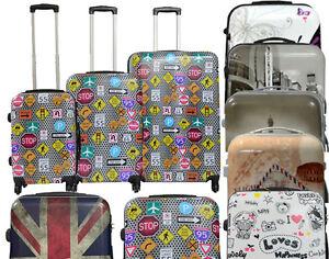 Juego o set 3 maletas de 4 ruedas equipaje de viaje 3 piezas trolley 7 diseños