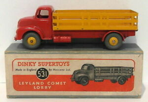 VINTAGE Dinky Supertoys 531-LEYLAND COMET camion-Rosso Giallo