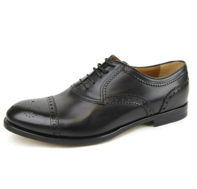 New Authentic Gucci Mens Perforated Cap Toe Oxford Dress Shoe,Black,312279 1000
