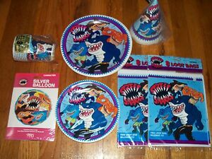 7pc Lot Unique 1995 Street Sharks Birthday Party Goods Multi-color NOS