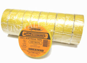 10 ROLLS PREMIUM VINYL ELECTRICAL TAPE CAR 12V WIRE - UL RoHS - YELLOW - 600 FT