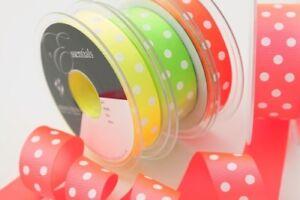 Ribbon-Grosgrain-Polka-Dot-Neon-Colours-Berisfords-15mm-and-25mm-x-20m-Reel
