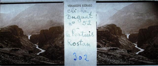 Fotografía estereoscópica El pertuis Rostan de aprox. 1900 Hautes Alpes