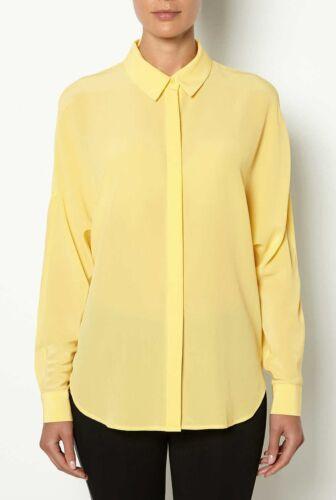 Marshmallow NWT $130 Designer WITCHERY Pure SILK Dress SHIRT Butter