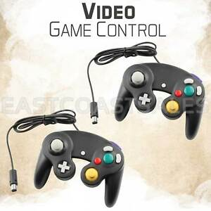 2x-Black-Video-Game-Pad-Controller-Remote-For-Nintendo-Wii-GameCube-System