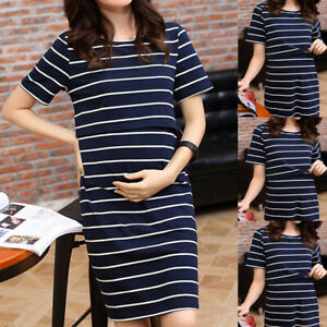 Maternity-Womens-Ladies-O-Neck-Pregnant-Nursing-Short-Sleeve-Stripe-Summer-Dress