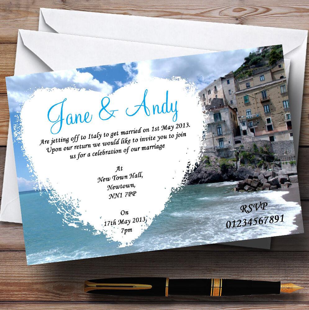 Romantic Amalfi Coast  Heart Personalised Wedding Invitations