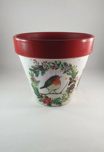 Hand Painted and Decoupaged Robin in A Winter Wreath Plant Pot