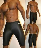 Mens Spandex Shorts Hind Solid Black Smooth Athletic Muscle Compression Shorts L