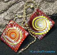 Red Art Glass Ceiling Fan Chain Light Switch Pull Square Swirl Design Pair