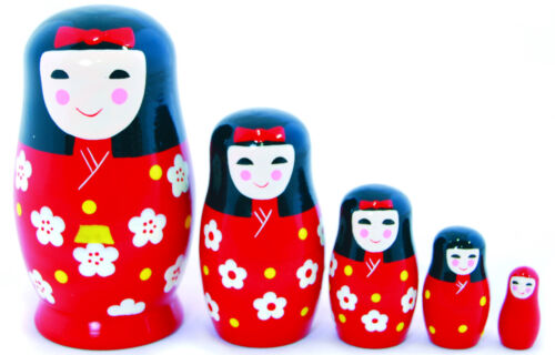 New Wooden Toy 5 nesting Japanese Girl babushka / Russian Doll in Red bow Kimono