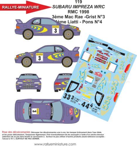 DECALS 1//32 REF 119 SUBARU IMPREZA WRC LIATTI RALLYE MONTE CARLO 1998 RALLY