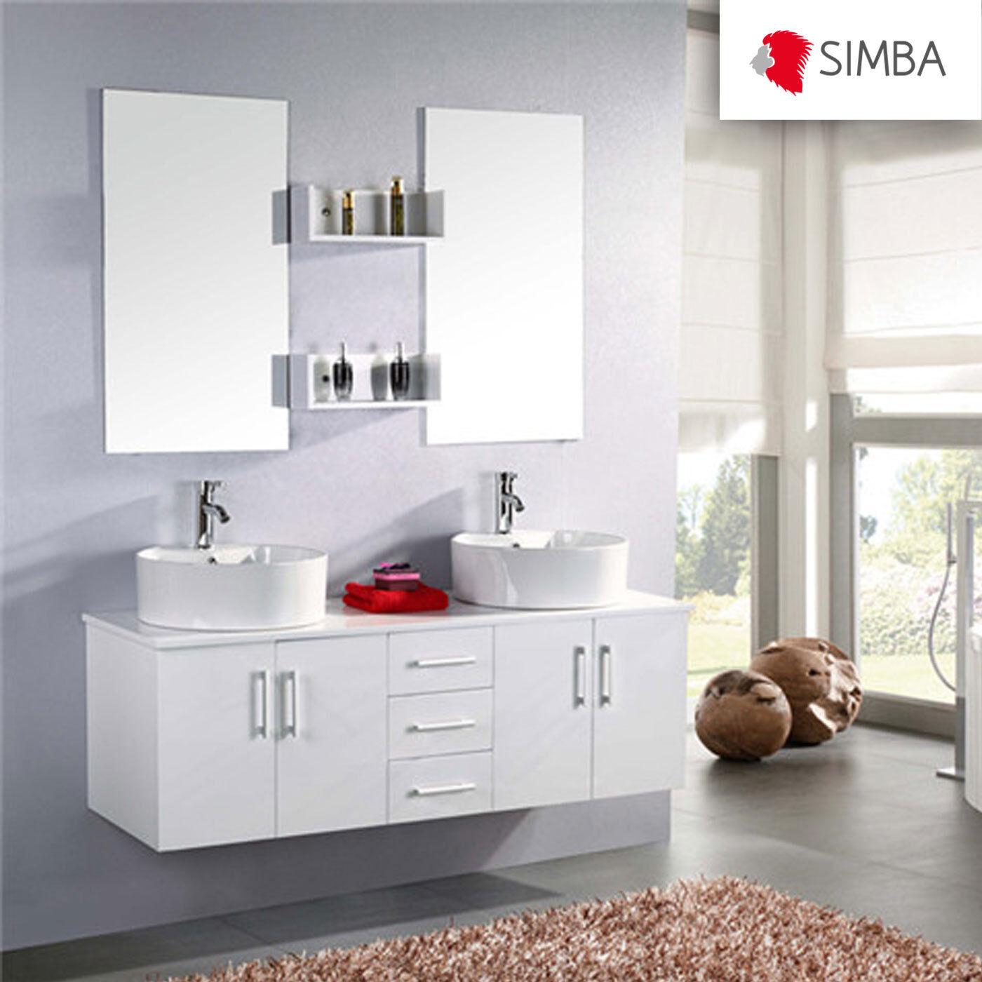 Muebles de baño 150 cm, armario de baño, doble fregadero, Espejo, grifos incluido WL