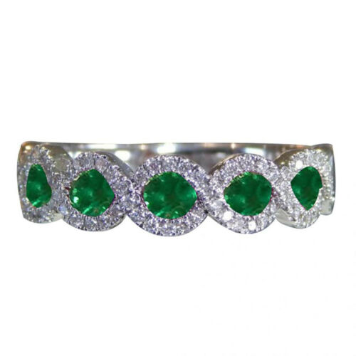 925 Silver Filled Rings Green Oval Cut Emerald Women Engagement Wedding Jewelry