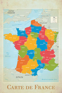 Map Of France Regions With Cities.Wall Map Of France Full Sized Poster Cities Regions Neighbors