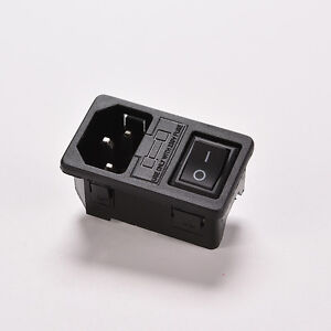 10A-250V-IEC320-C14-3-Pin-Fused-Power-Socket-Connector-Rocker-Switch-1Pc-UK